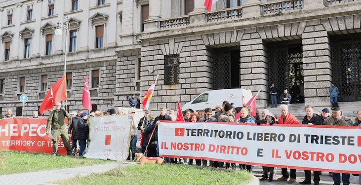 Demonstration of the Free Trieste Movement in front of the Courthouse of Trieste