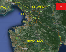 The present-day Free Territory of Trieste (F.T.T. - T.L.T. - S.T.O.) and its neighbour States: Italy and Slovenia.